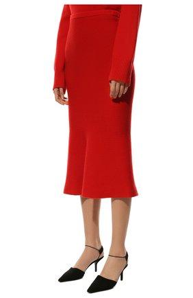 Женская кашемировая юбка ADDICTED красного цвета, арт. MK922   Фото 3 (Материал внешний: Шерсть; Кросс-КТ: Трикотаж; Длина Ж (юбки, платья, шорты): Миди; Статус проверки: Проверено)
