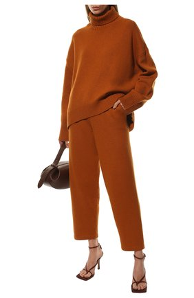 Женские брюки из смеси шерсти и кашемира ADDICTED оранжевого цвета, арт. MK916 | Фото 2