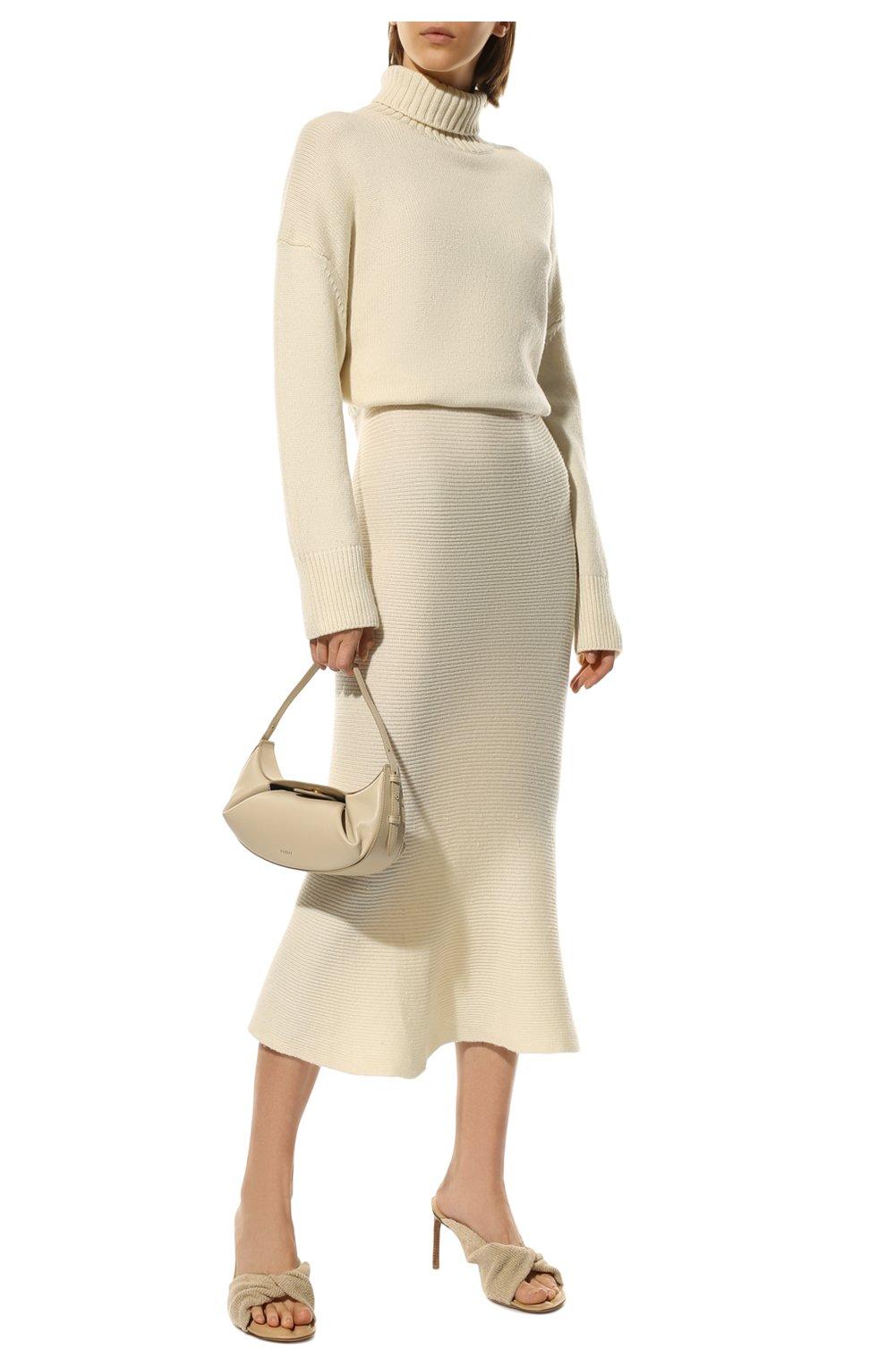 Женская кашемировая юбка ADDICTED белого цвета, арт. MK922   Фото 2 (Материал внешний: Шерсть; Кросс-КТ: Трикотаж; Длина Ж (юбки, платья, шорты): Миди; Статус проверки: Проверено)