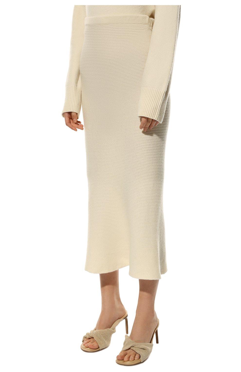 Женская кашемировая юбка ADDICTED белого цвета, арт. MK922   Фото 3 (Материал внешний: Шерсть; Кросс-КТ: Трикотаж; Длина Ж (юбки, платья, шорты): Миди; Статус проверки: Проверено)