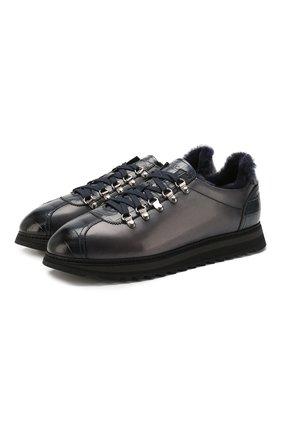 Мужские кожаные кроссовки DOUCAL'S темно-синего цвета, арт. DU2156WINNPM0212B02 | Фото 1