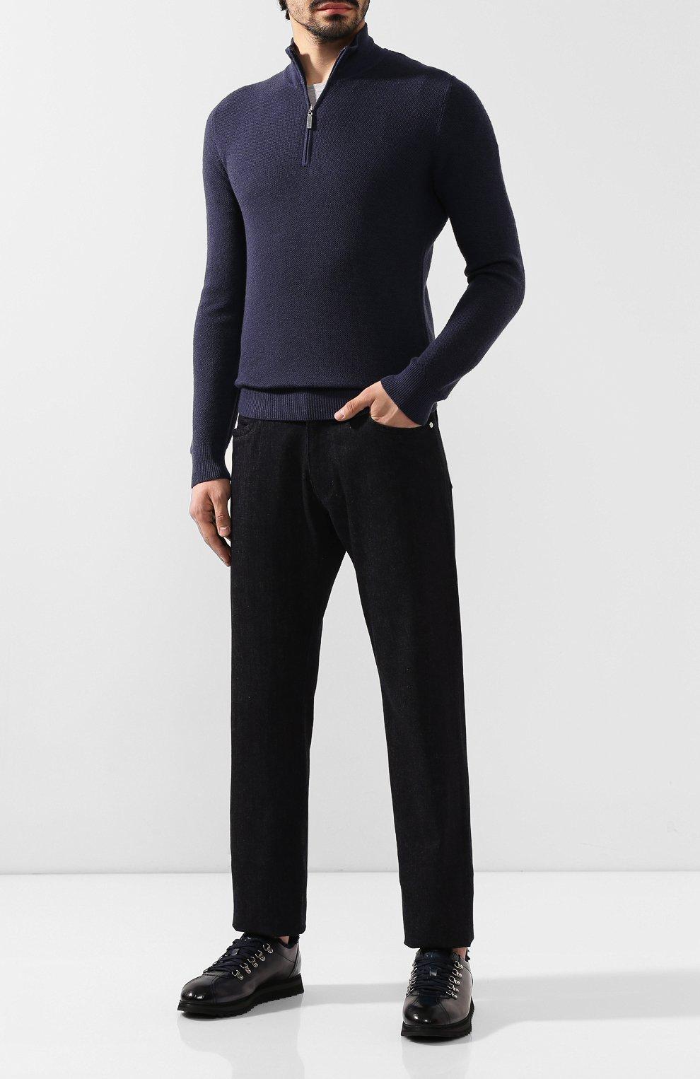 Мужские кожаные кроссовки DOUCAL'S темно-синего цвета, арт. DU2156WINNPM0212B02 | Фото 2