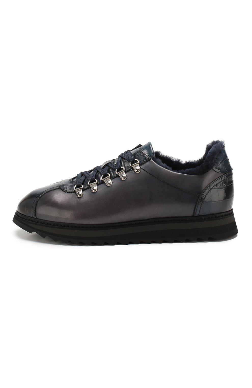 Мужские кожаные кроссовки DOUCAL'S темно-синего цвета, арт. DU2156WINNPM0212B02 | Фото 3