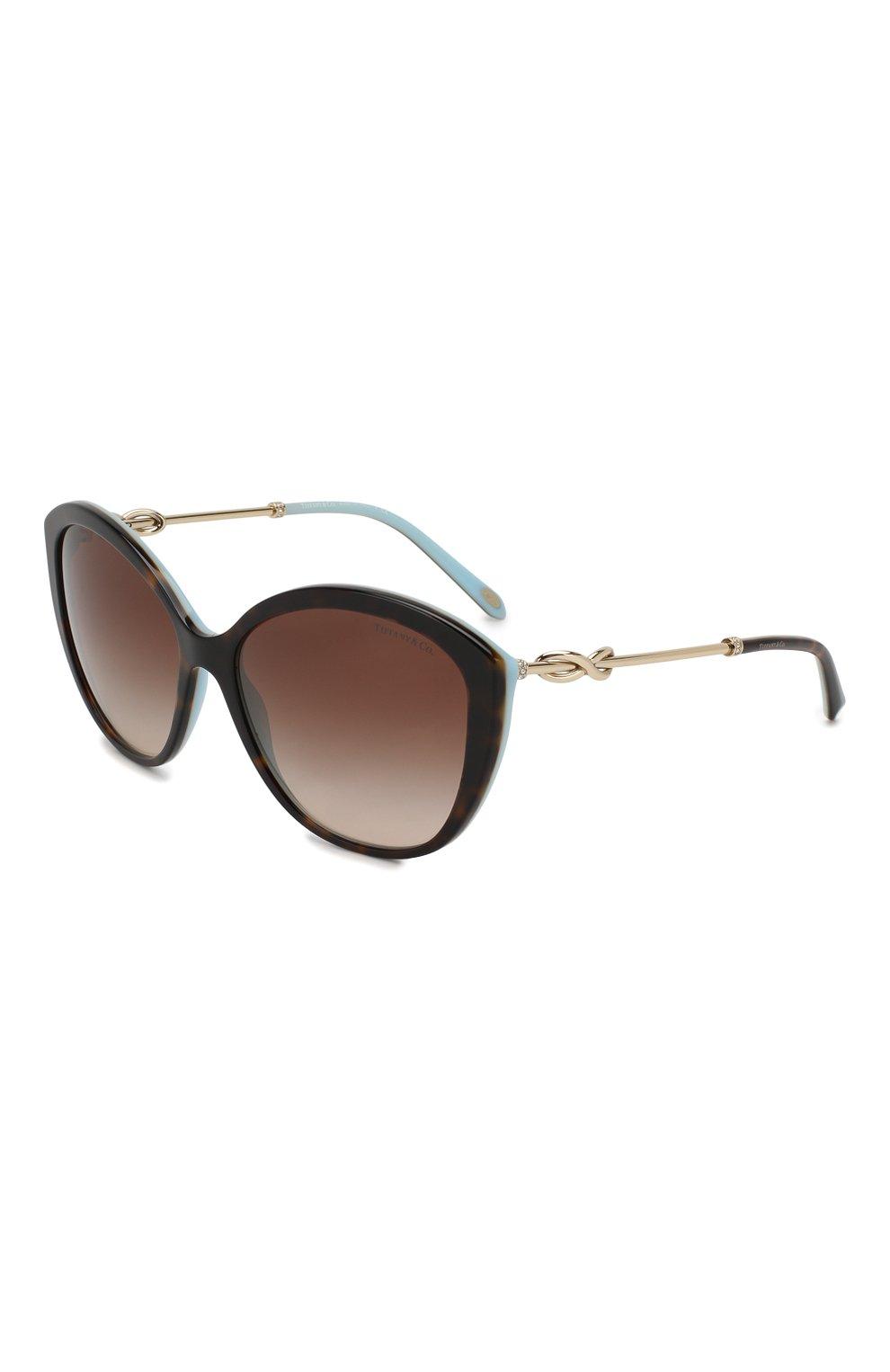Женские солнцезащитные очки TIFFANY & CO. коричневого цвета, арт. 4144B-81343B   Фото 1