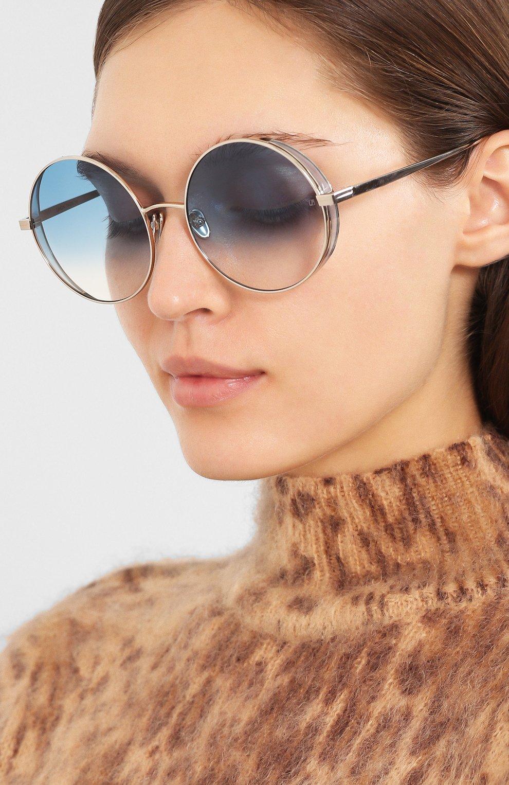 Женские солнцезащитные очки LINDA FARROW голубого цвета, арт. LFL758C8 SUN | Фото 2