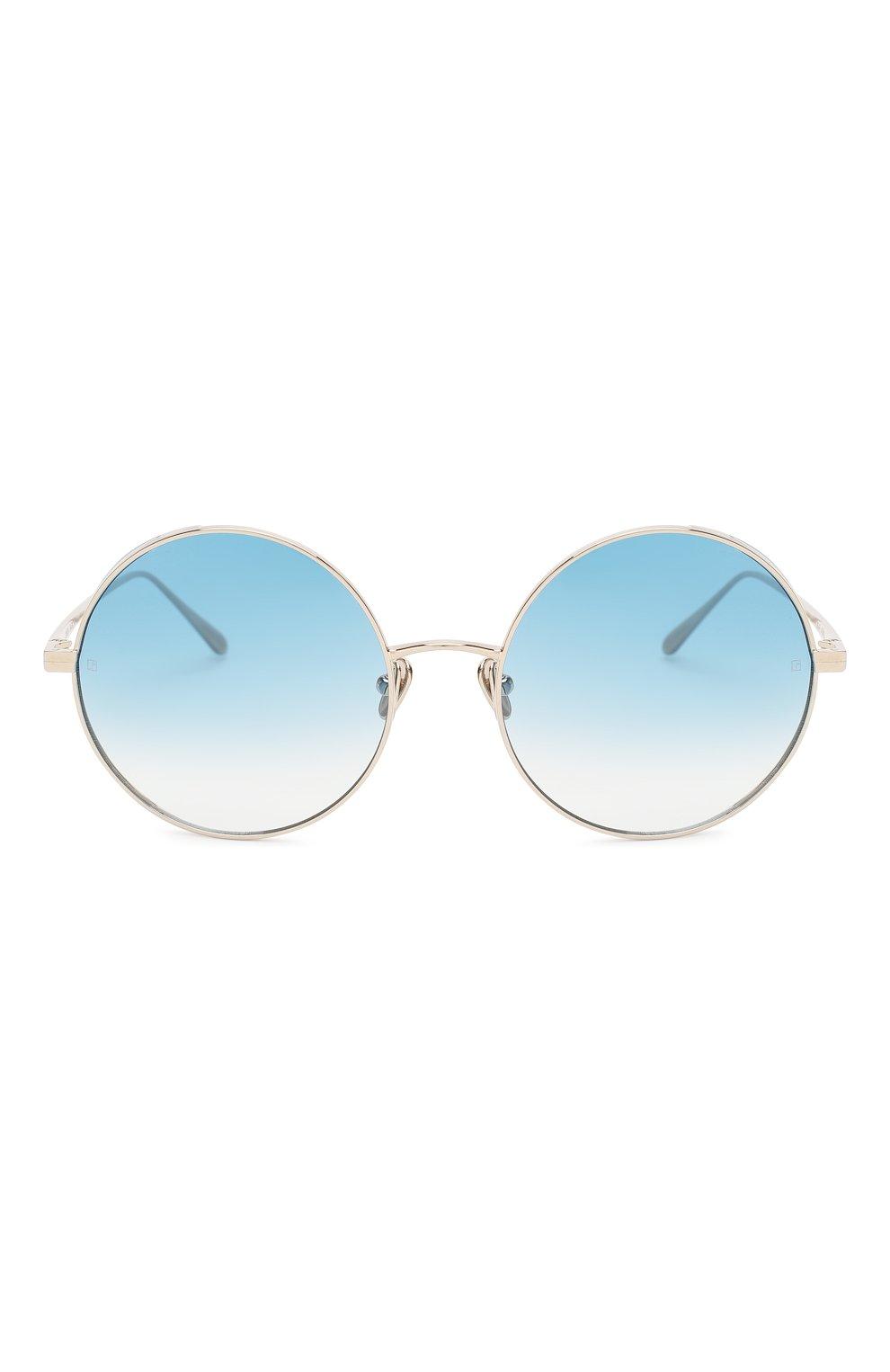 Женские солнцезащитные очки LINDA FARROW голубого цвета, арт. LFL758C8 SUN | Фото 3