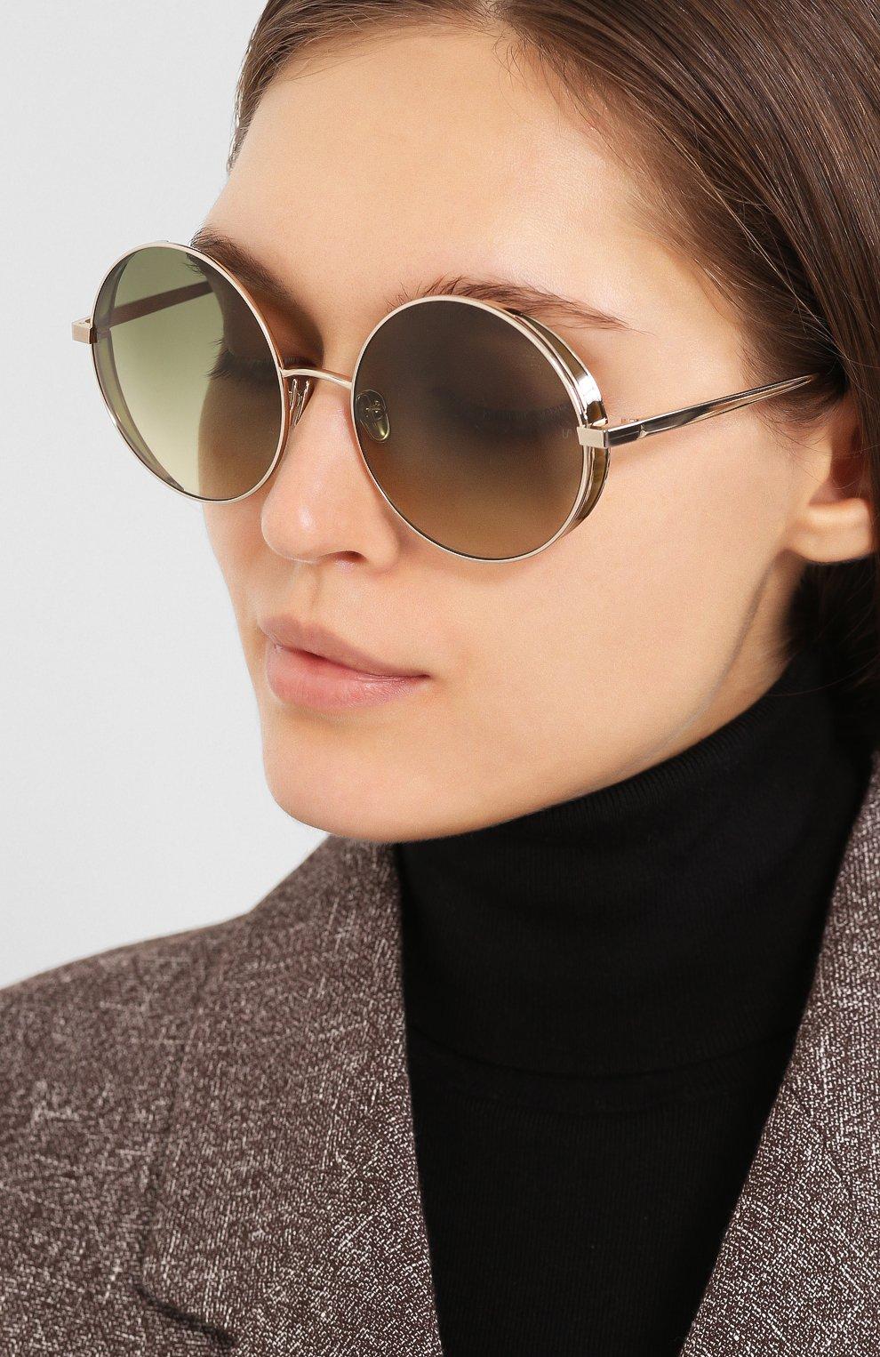 Женские солнцезащитные очки LINDA FARROW светло-зеленого цвета, арт. LFL758C9 SUN   Фото 2