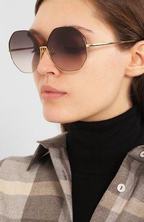 Женские солнцезащитные очки LINDA FARROW темно-коричневого цвета, арт. LFL1009C3 SUN   Фото 2