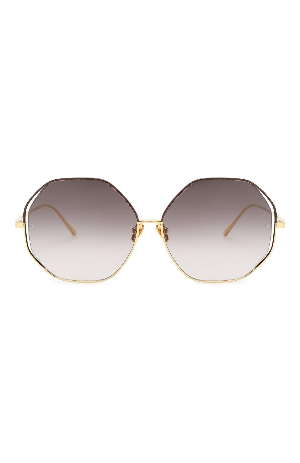 Женские солнцезащитные очки LINDA FARROW темно-коричневого цвета, арт. LFL1009C3 SUN   Фото 3