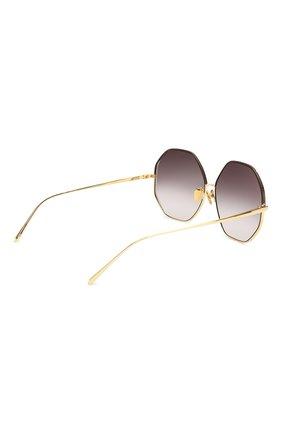 Женские солнцезащитные очки LINDA FARROW темно-коричневого цвета, арт. LFL1009C3 SUN   Фото 4