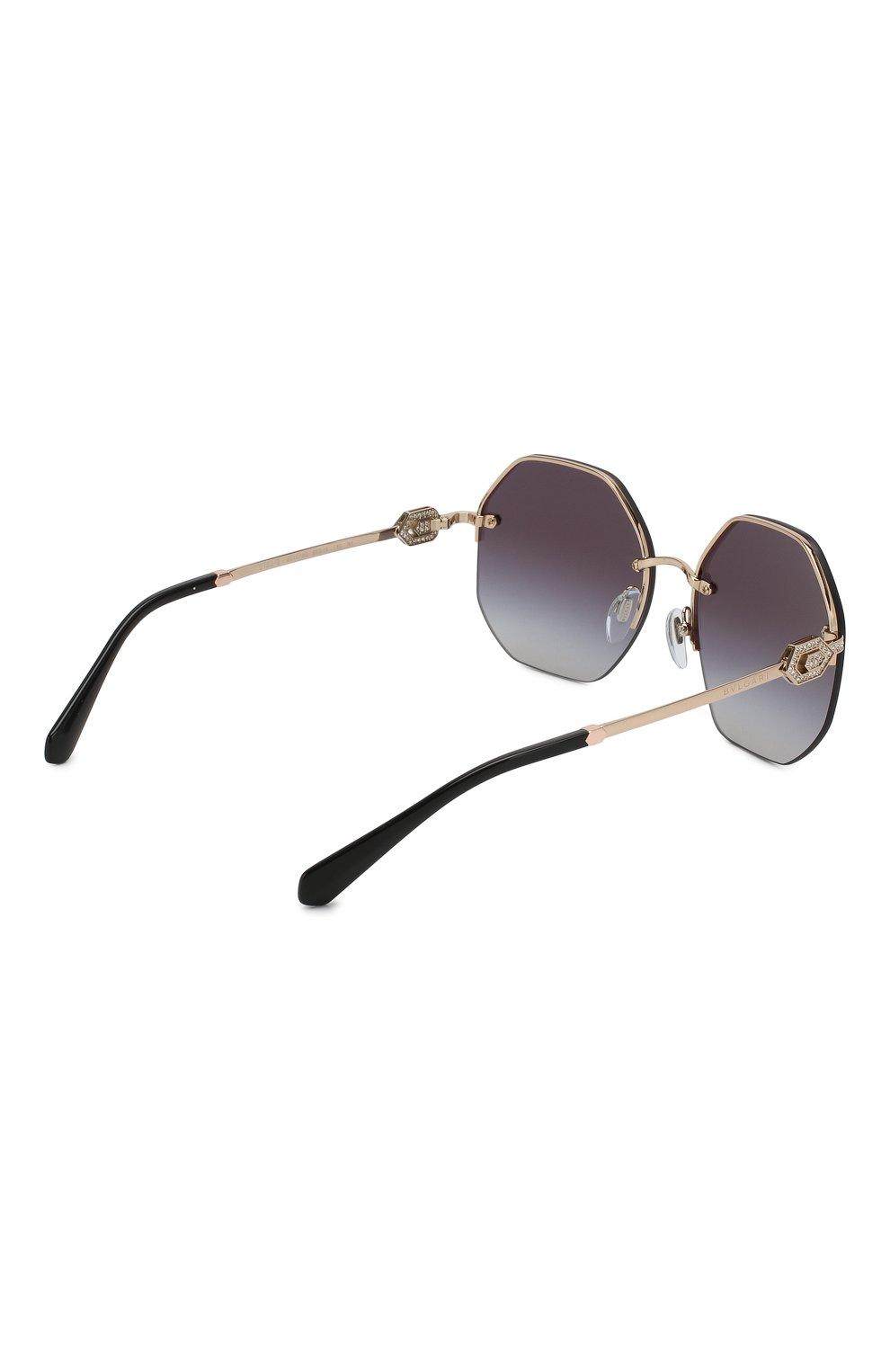 Женские солнцезащитные очки BVLGARI черного цвета, арт. 6122B-20148G | Фото 4