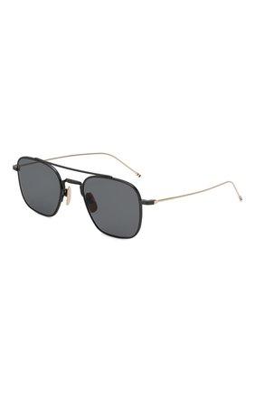 Мужские солнцезащитные очки THOM BROWNE черного цвета, арт. TB-907-04 | Фото 1