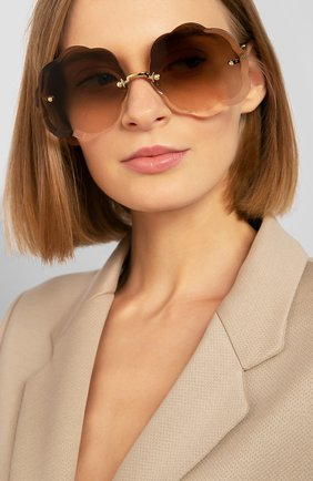 Женские солнцезащитные очки CHLOÉ коричневого цвета, арт. 156S-742 | Фото 2