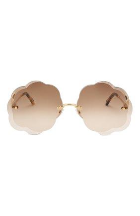 Женские солнцезащитные очки CHLOÉ коричневого цвета, арт. 156S-742 | Фото 3