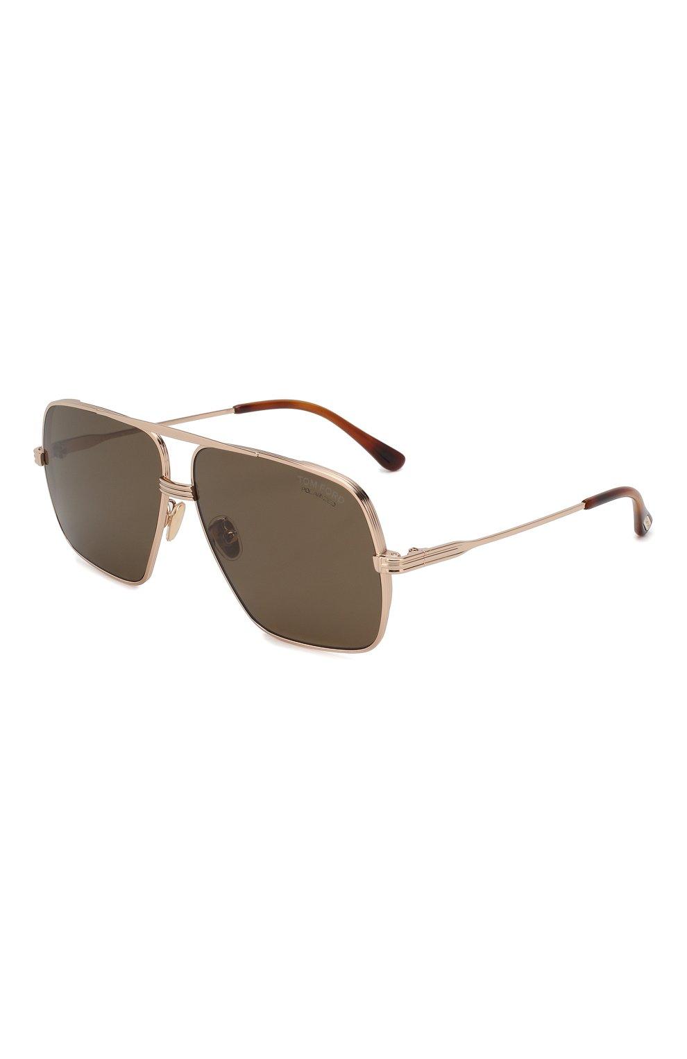 Мужские солнцезащитные очки TOM FORD золотого цвета, арт. TF735-H 28M   Фото 1