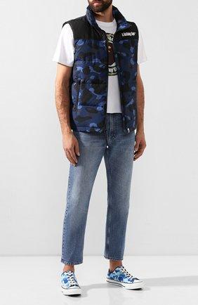 Мужские текстильные кеды BAPE синего цвета, арт. 1F80191007 | Фото 2