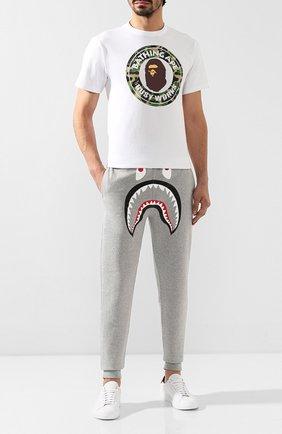 Мужской хлопковые джоггеры BAPE серого цвета, арт. 1F80152006 | Фото 2