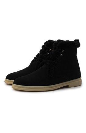 Женские замшевые ботинки ylvi walk LORO PIANA черного цвета, арт. FAF9366 | Фото 1