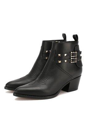 Женские кожаные ботинки valentino garavani rockstud VALENTINO черного цвета, арт. SW0S0S04/VXS | Фото 1