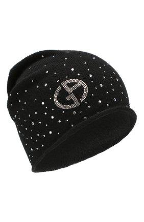 Женская кашемировая шапка GIORGIO ARMANI черного цвета, арт. 797324/9A593 | Фото 1 (Статус проверки: Проверено, Проверена категория; Материал: Шерсть, Кашемир)