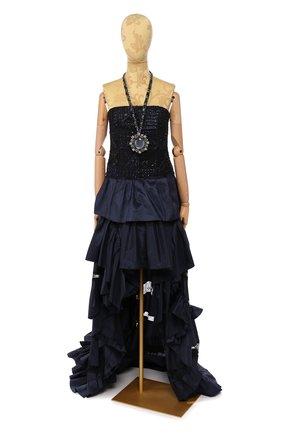 Женское шелковое платье OSCAR DE LA RENTA темно-синего цвета, арт. R16E050DKN | Фото 1