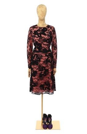 Женское кружевное платье OSCAR DE LA RENTA розового цвета, арт. P16E657BLK | Фото 1