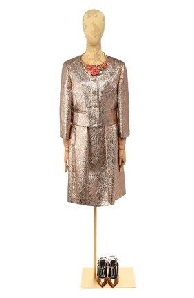 Женская юбка из смеси шелка и шерсти OSCAR DE LA RENTA золотого цвета, арт. F16N201SRSG | Фото 1