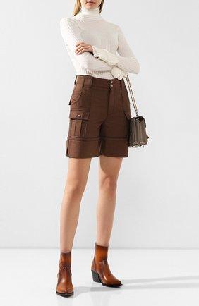 Женские шорты из смеси хлопка и шерсти CHLOÉ зеленого цвета, арт. CHC19WSH02068 | Фото 2