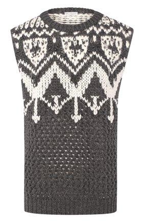 Женский кашемировый жилет BRUNELLO CUCINELLI серого цвета, арт. M52318110 | Фото 1