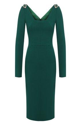 Женское шерстяное платье DOLCE & GABBANA зеленого цвета, арт. F6G2BZ/FUBCI | Фото 1