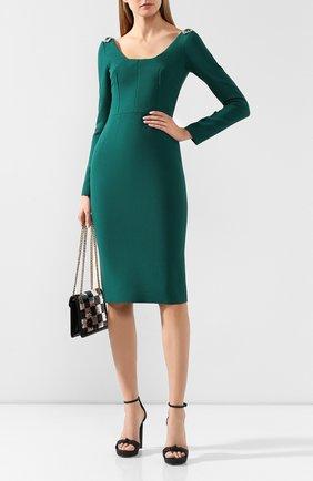 Женское шерстяное платье DOLCE & GABBANA зеленого цвета, арт. F6G2BZ/FUBCI | Фото 2