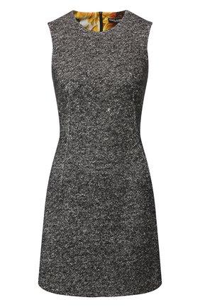Женское платье из смеси шерсти и шелка DOLCE & GABBANA серого цвета, арт. F6F4NT/FM3CZ | Фото 1