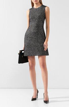 Женское платье из смеси шерсти и шелка DOLCE & GABBANA серого цвета, арт. F6F4NT/FM3CZ | Фото 2