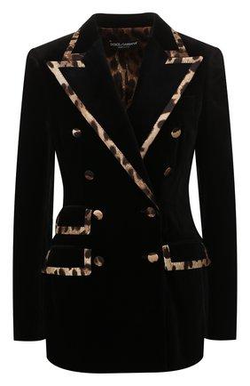 Женский двубортный жакет DOLCE & GABBANA черного цвета, арт. F29BTT/FUVAT | Фото 1