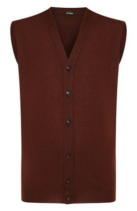 Мужской жилет из смеси кашемира и шелка KITON коричневого цвета, арт. UK07T | Фото 1