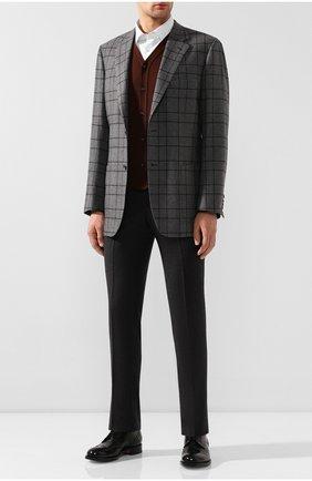 Мужской жилет из смеси кашемира и шелка KITON коричневого цвета, арт. UK07T | Фото 2