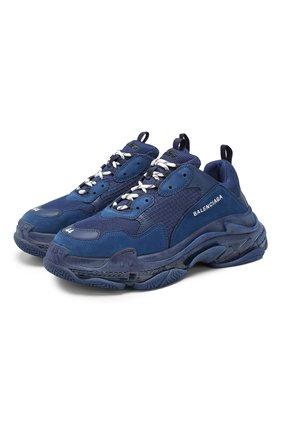 Мужские комбинированные кроссовки triple s BALENCIAGA синего цвета, арт. 541624/W0901 | Фото 1