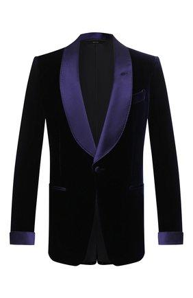 Мужской пиджак из вискозы TOM FORD синего цвета, арт. 6VER40/11S840 | Фото 1