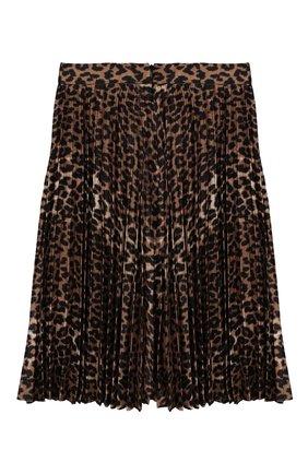 Детская плиссированная юбка LES COYOTES DE PARIS леопардового цвета, арт. 109-32-015   Фото 2
