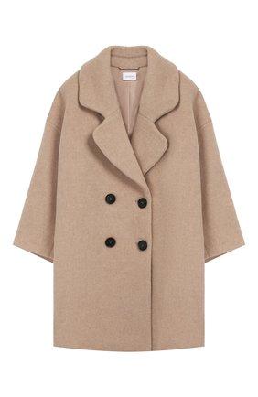 Детское двубортное пальто из шерсти UNLABEL бежевого цвета, арт. SHIN-1/27-IN306/12A-16A | Фото 1