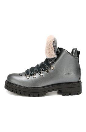 Детские кожаные ботинки с меховой отделкой SIMONETTA темно-серого цвета, арт. SITR0014/S0FTY/35-40 | Фото 2