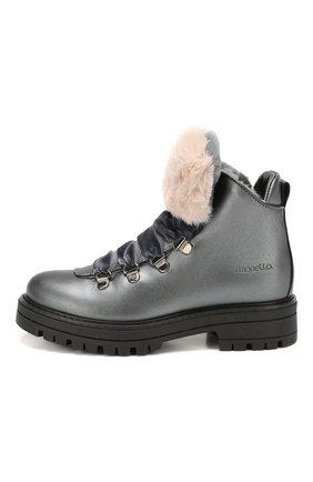 Детские кожаные ботинки с меховой отделкой SIMONETTA темно-серого цвета, арт. SITR0014/S0FTY/28-34 | Фото 2