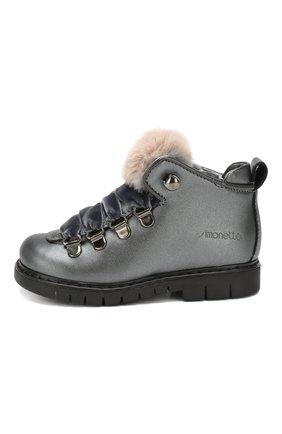 Детские кожаные ботинки с меховой отделкой SIMONETTA темно-серого цвета, арт. SITR0014/S0FTY/23-27 | Фото 2