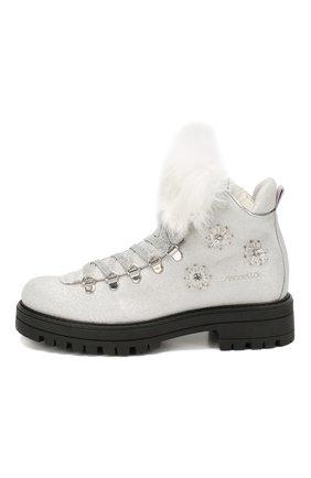 Детские кожаные ботинки с меховой отделкой SIMONETTA серебряного цвета, арт. SITR0013/CHIANTI/35-40 | Фото 2