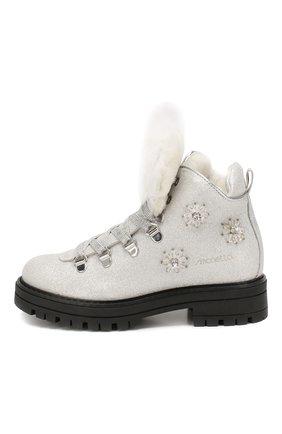 Детские кожаные ботинки с меховой отделкой SIMONETTA серебряного цвета, арт. SITR0013/CHIANTI/28-34 | Фото 2