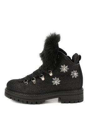 Детские кожаные ботинки с меховой отделкой SIMONETTA черного цвета, арт. SITR0013/CHIANTI/28-34 | Фото 2