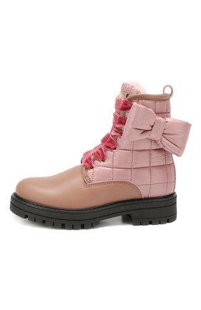 Детские кожаные ботинки с меховой отделкой SIMONETTA розового цвета, арт. SITR0008/S0FTY/FUR/28-34 | Фото 2