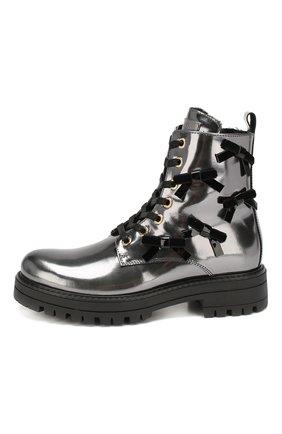 Детские кожаные ботинки с меховой отделкой SIMONETTA серебряного цвета, арт. SITR0006/MIRR0R/35-40 | Фото 2