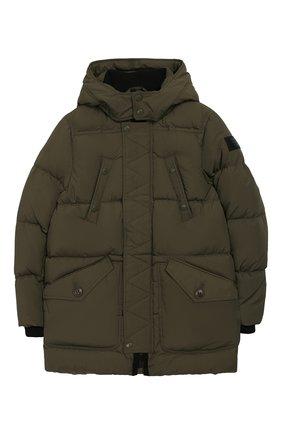 Детский пуховая куртка с капюшоном BURBERRY хаки цвета, арт. 8017781 | Фото 1