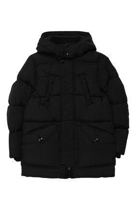 Детский пуховая куртка с капюшоном BURBERRY черного цвета, арт. 8017782 | Фото 1